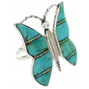 Silver Opal Turquoise Butterfly Adjustable Ring Size 7 8 9 DW72670