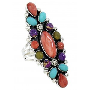 Turquoise Multicolor Southwest Sterling Silver Ring Size 8-1/2 BW73053