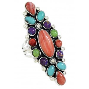 Genuine Sterling Silver Turquoise Multicolor Ring Size 8-1/2 BW73062