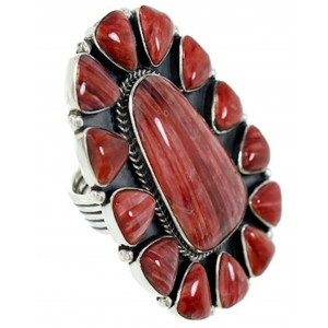 Large Statement Jewelry Red Oyster Shell Ring Size 8-1/2 BW72936