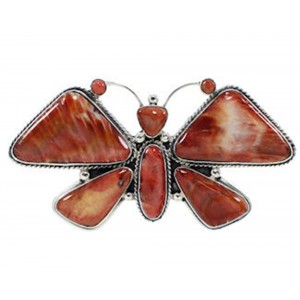 Large Statement Red Oyster Shell Butterfly Ring Size 9-1/2 PS72890