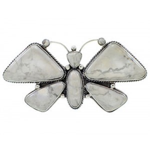 Large Statement Howlite Southwest Butterfly Ring Size 6-3/4 PS72987