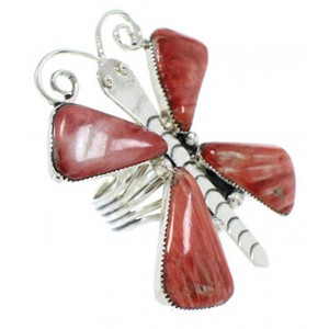 Large Statement Red Oyster Shell Butterfly Ring Size 8-3/4 PS72996