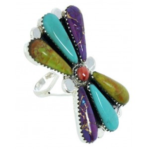 Multicolor Southwestern Large Statement Piece Ring Size 8-1/2 BW74472