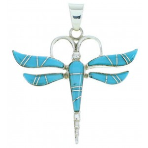 Sterling Silver Turquoise Dragonfly Inlay Slide Pendant BW73411