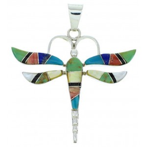 Sterling Silver And Multicolor Dragonfly Inlay Jewelry Pendant BW73417