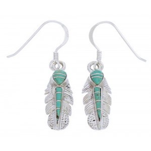 Turquoise And Silver Feather Hook Earrings GS73464