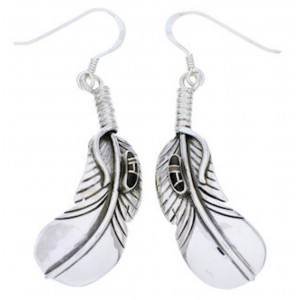 Jet And Opal Silver Feather Hook Earrings GS73520