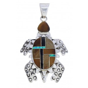 Tiger Eye Multicolor Turtle Sterling Silver Pendant AX23688