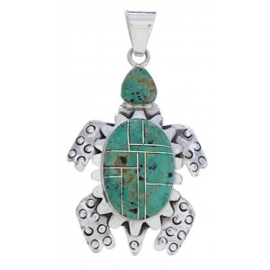 Turtle Turquoise Inlay Sterling Silver Pendant AX23722
