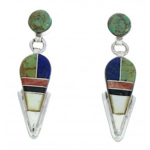 Southwest Jewelry Multicolor Inlay Post Dangle Earrings BW73729