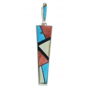 Sterling Silver And Multicolor Inlay Southwest Pendant BW76006