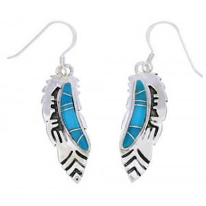 Southwest Silver Turquoise Inlay Feather Hook Dangle Earrings EX24453
