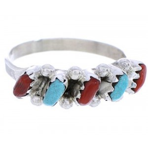 Zuni Jewelry Turquoise Coral Needlepoint Ring Size 6-1/4 MW74616