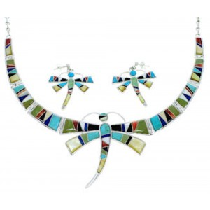 Multicolor Silver Dragonfly Link Necklace Earrings Jewelry Set RS74390