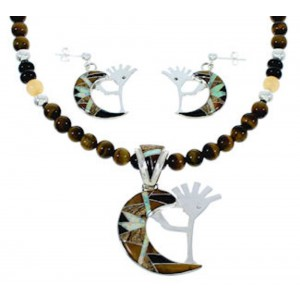 Multicolor WhiteRock Kokopelli Pendant Necklace Earrings Set GS74417