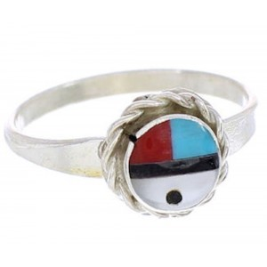 Sterling Silver Multicolor Sun Zuni Indian Ring Size 4-3/4 AW76217