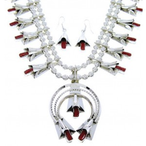 Squash Blossom Navajo Native American Coral Necklace Set RS75276