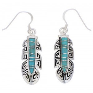 Feather Turquoise Inlay Silver Earrings GS74627