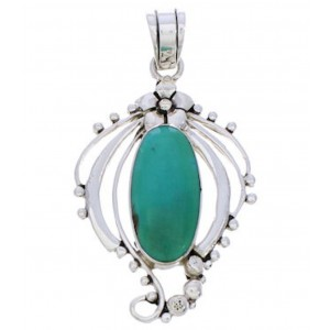 Sterling Silver And Turquoise Slide Pendant Jewelry BW74997