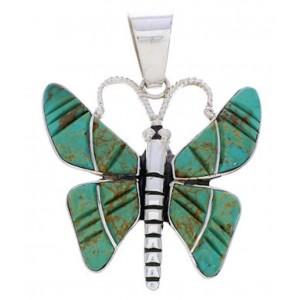 Southwest Turquoise Inlay Jewelry Butterfly Slide Pendant BW75126