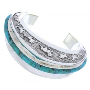 Turquoise Jewelry Sterling Silver Horse Cuff Bracelet PX27731