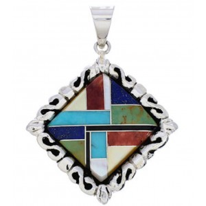 Southwest Silver Multicolor Inlay Pendant GS75186