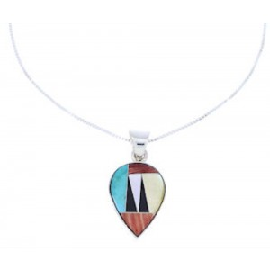 "Silver Jewelry Multicolor Inlay 16"" Chain Necklace Pendant Set PX37613"