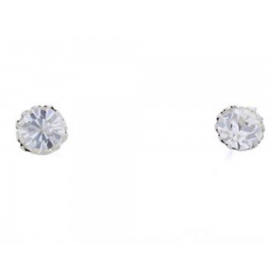 Crystal Genuine Sterling Silver April Birthstone Post Earrings Jewelry NX88592