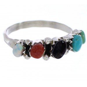 Multicolor Jewelry Zuni Sterling Silver Ring Size 7-1/4 BW75662