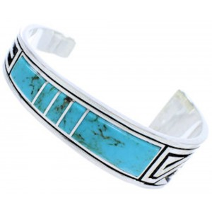 Southwest Turquoise Feather Sterling Silver Cuff Bracelet MX27310