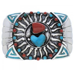 Silver Southwest Turquoise Coral Sun Heart Belt Buckle PX29139