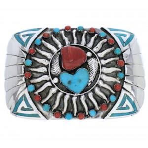 Coral And Turquoise Southwest Silver Sun And Heart Belt Buckle PX29140