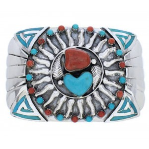 Turquoise Southwestern Coral Sun And Heart Belt Buckle PX29141
