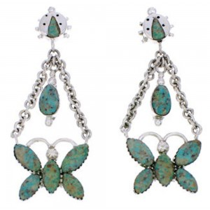 Southwest Butterfly Ladybug Turquoise Earrings MW76073