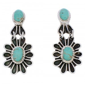 Southwestern Turquoise Flower Silver Earrings MW75948