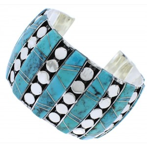 Southwest Sterling Silver And Turquoise Inlay Cuff Bracelet EX27846
