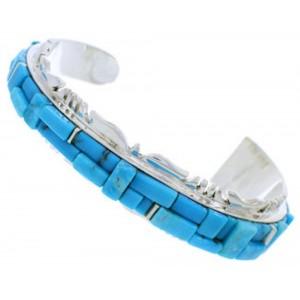 Genuine Sterling Silver And Turquoise Inlay Cuff Bracelet EX27431