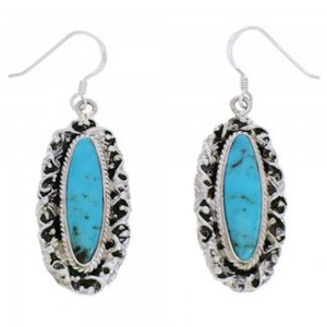 Sterling Silver And Turquoise Southwest Hook Dangle Earrings EX29102