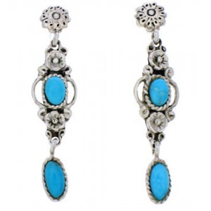 Flower Jewelry Turquoise Southwestern Silver Earrings MX21883