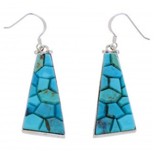 Turquoise Inlay Genuine Sterling Silver Hook Dangle Earrings EX30438