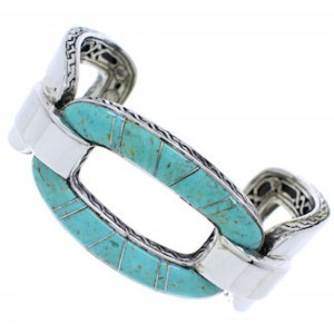 Genuine Sterling Silver Turquoise Southwest Cuff Bracelet MX27064