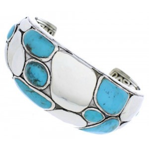 Silver Southwestern Turquoise Inlay Cuff Bracelet MX27099