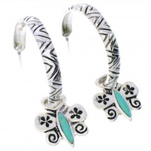 Turquoise Butterfly Flower Interchangeable Hoop Earrings JX23297