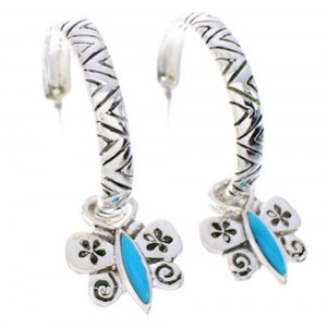 Butterfly Turquoise Flower Interchangeable Hoop Earrings JX23414