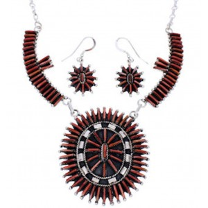 Red Oyster Shell Silver Jewelry Earrings Link Necklace Set PX35811