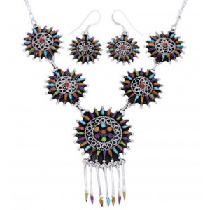 Genuine Silver Multicolor Jewelry Link Necklace Earrings PX35846
