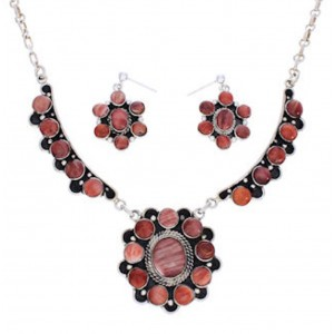 Southwest Red Oyster Shell Silver Earrings Link Necklace Set PX35866