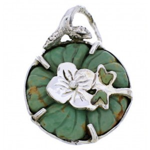 Sterling Silver Turquoise Flower Dragonfly Jewelry Pendant MX23959