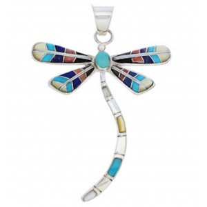 Multicolor Dragonfly Sterling Silver Jewelry Pendant MX24054